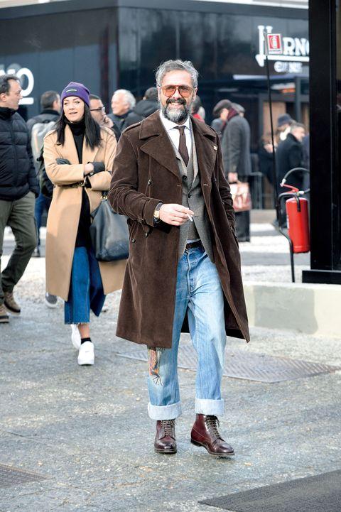 Street fashion, Photograph, People, Fashion, Snapshot, Street, Standing, Urban area, Coat, Human,