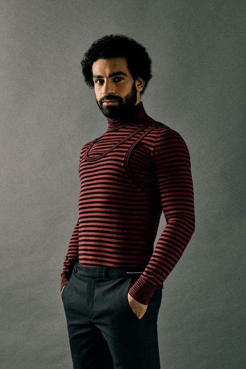 Clothing, Neck, Red, Cool, Sleeve, Facial hair, Maroon, Standing, Fashion, Model,