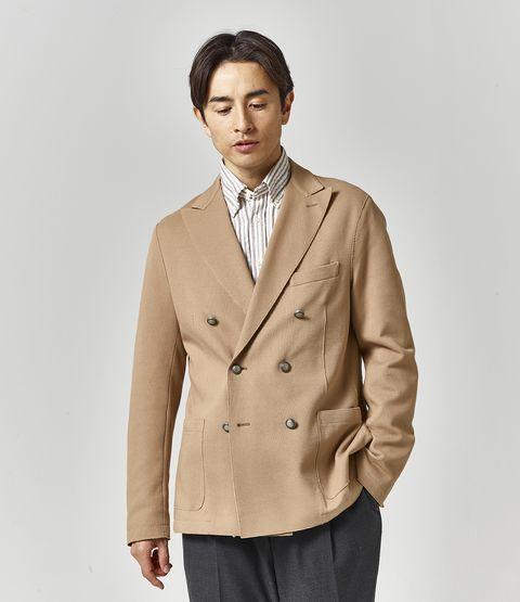 Clothing, Outerwear, Jacket, Suit, Blazer, Beige, Coat, Overcoat, Formal wear, Collar,