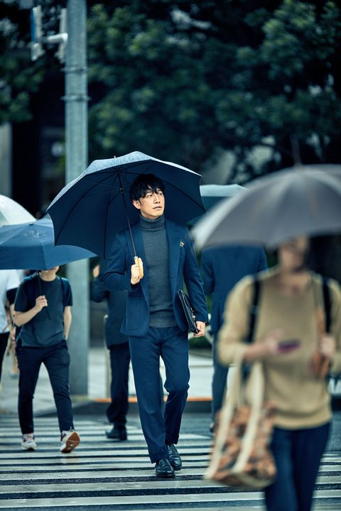 Umbrella, Photograph, People, Blue, Rain, Standing, Snapshot, Pedestrian, Street, Human,