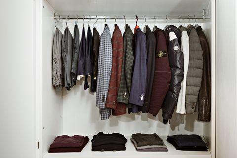 Closet, Room, Clothes hanger, Wardrobe, Furniture, Shelf, Boutique,