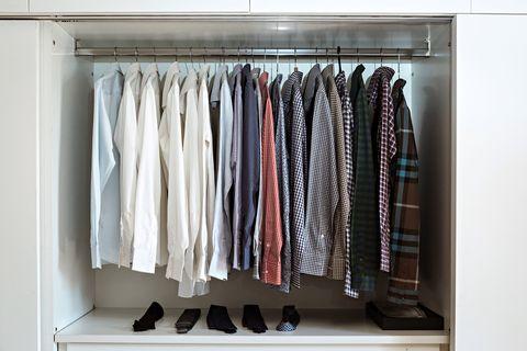 Closet, Clothes hanger, Room, Wardrobe, Furniture, Shelf, Cupboard,