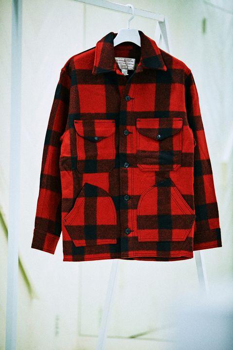 Plaid, Clothing, Pattern, Tartan, Red, Outerwear, Textile, Sleeve, Design, Jacket,