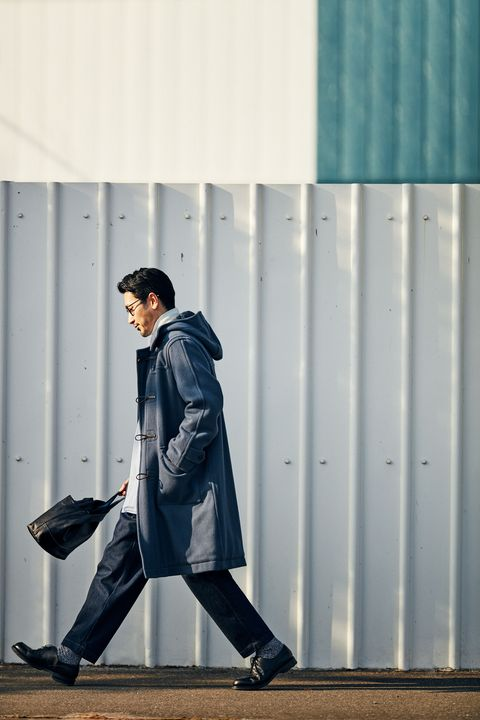 Blue, White, Street fashion, Clothing, Standing, Snapshot, Fashion, Outerwear, Trench coat, Footwear,