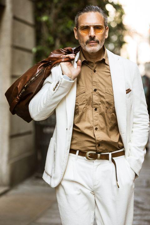 Photograph, Street fashion, Suit, Fashion, Outerwear, Blazer, Beard, Jacket, Facial hair, Beige,