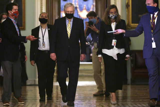 washington, dc   september 10 us senate majority leader sen mitch mcconnell r ky leaves the senate chamber after a vote at the us capitol september 10, 2020 in washington, dc the senate has failed to pass a procedural vote for a republican proposed coronavirus relief package  photo by alex wonggetty images