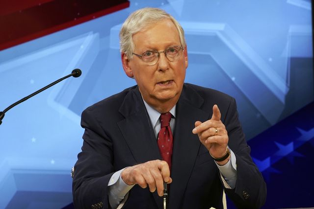 senate majority leader mitch mcconnell, r ky, speaks during a debate with democratic challenger amy mcgrath in lexington, ky, monday, oct 12, 2020 michael clubbthe kentucky kernel via ap, pool