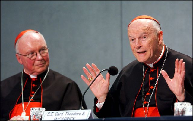 vatican   april 24  us cardinals james stafford and theodore mccarrick in rome, italy on april 24th, 2002  photo by eric vandevillegamma rapho via getty images
