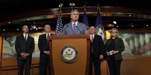 House Minority Leader Kevin McCarthy Speaks To The Media Following Republican Conference Meeting