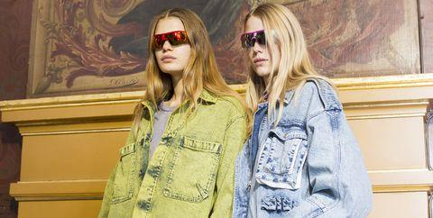 Eyewear, Street fashion, Clothing, Fashion, Yellow, Denim, Sunglasses, Jeans, Outerwear, Fashion design,