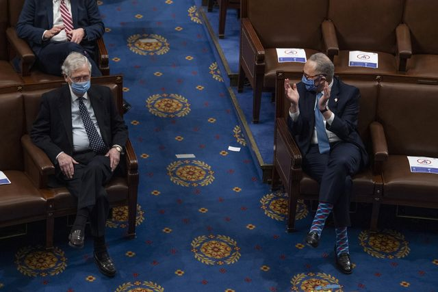 united states   january 7 senate minority leader chuck schumer, d ny, right, and majority leader mitch mcconnell, r ky, attend the joint session of congress to certify the electoral college votes of the 2020 presidential election in the house chamber on thursday, january 7, 2021 photo by tom williamscq roll call, inc via getty images