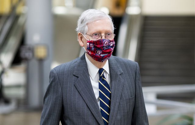 united states   july 29 senate majority leader mitch mcconnell, r ky, walks to the senate subway on his way to the senate republicans lunch on wednesday, july 29, 2020 photo by bill clarkcq roll call, inc via getty images