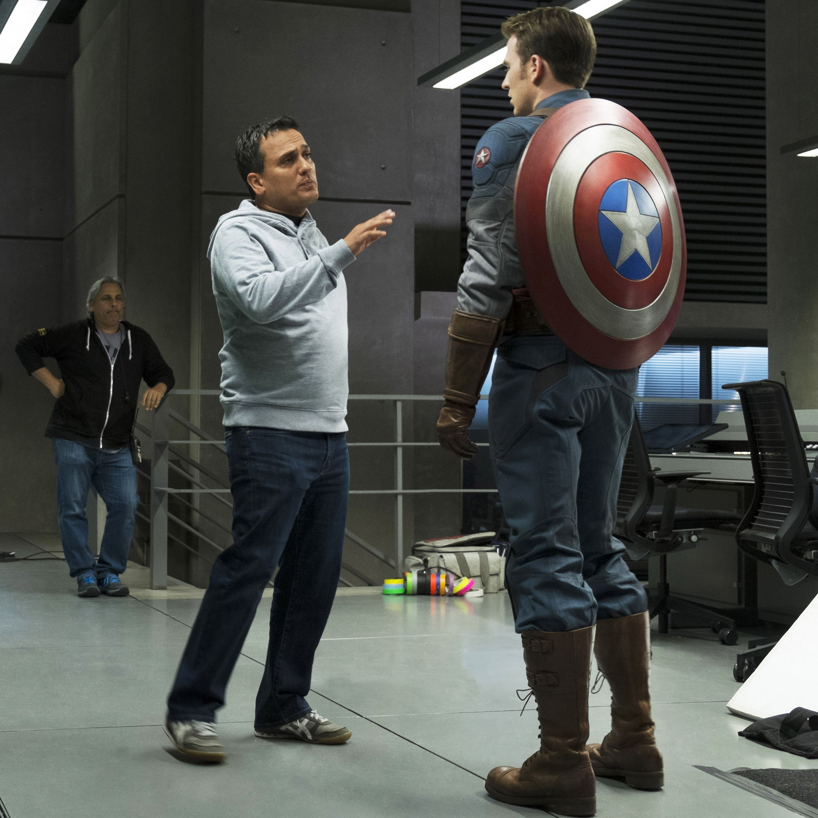 Joe Russo directing Chris Evans on the set of Captain America: The Winter Soldier in 2014.