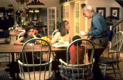 father of the bride, from left kimberly williams, diane keaton, steve martin, 1991, ©buena vista picturescourtesy everett collection