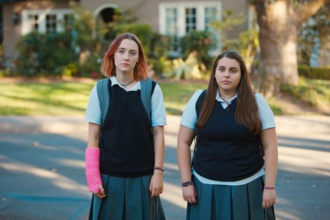 LADY BIRD, from left, Saoirse Ronan, Beanie Feldstein, 2017. ©A24/courtesy Everett Collection