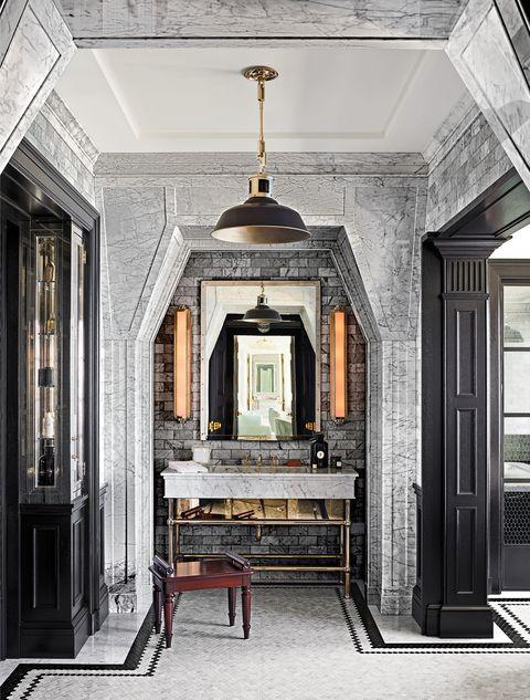 Arched master bathroom