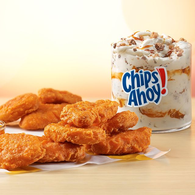 mcdonald's spicy chicken mcnuggets, mighty hot sauce, and chips ahoy cookie mcflurry