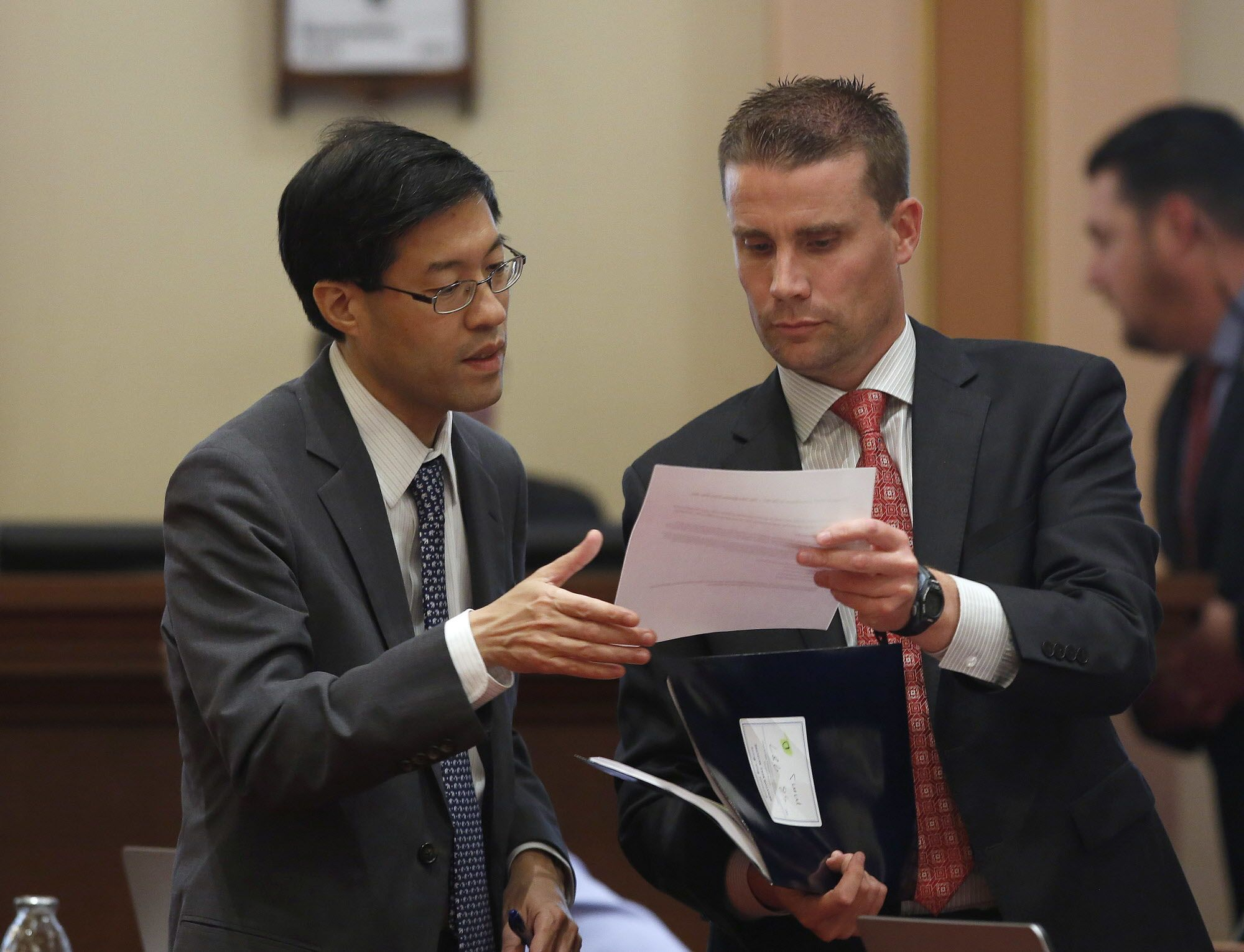 Sen. Mike McGuire, D-Healdsburg, right, discusses his measure to impose a 15 percent sales tax for medical marijuana, with Sen. Richard Pan, D-Sacramento, Wednesday, June 1, 2016, in Sacramento, Calif. Senators approved McGuire's bill, SB987 on a 27-9 vote, sending it to the Assembly. (AP Photo/Rich Pedroncelli)