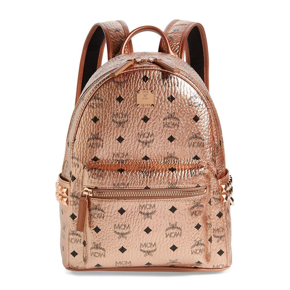 mcm rose gold backpack