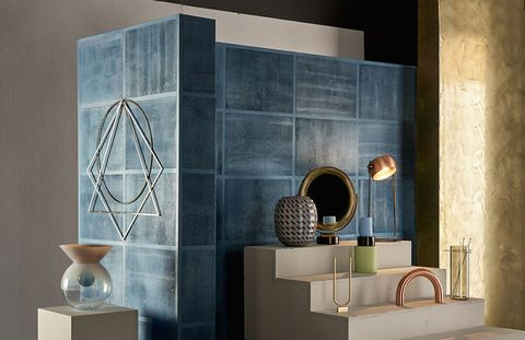 Tile, Room, Wall, Furniture, Interior design, Shelf, Design, Floor, Ceramic, Material property,