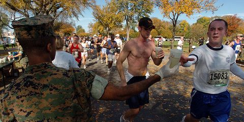 A water stop at the Marine Corps Marathon