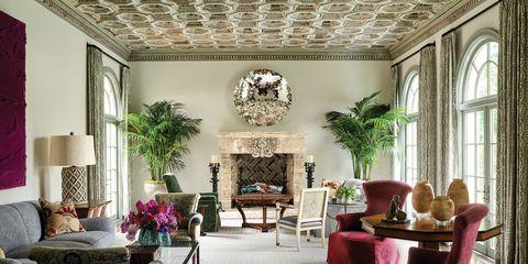 Interior design, Room, Property, Living room, Building, Furniture, Ceiling, Pink, House, Home,