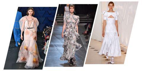 Fashion model, Clothing, Fashion, Dress, White, Haute couture, Runway, Gown, Shoulder, Wedding dress,