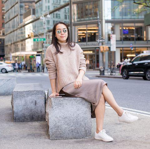 Street fashion, Photograph, Clothing, Fashion, Snapshot, Beauty, Denim, Pink, Footwear, Sitting,