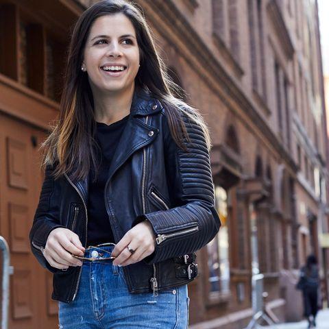 Leather, Street fashion, Jacket, Jeans, Leather jacket, Clothing, Fashion, Denim, Shoulder, Beauty,
