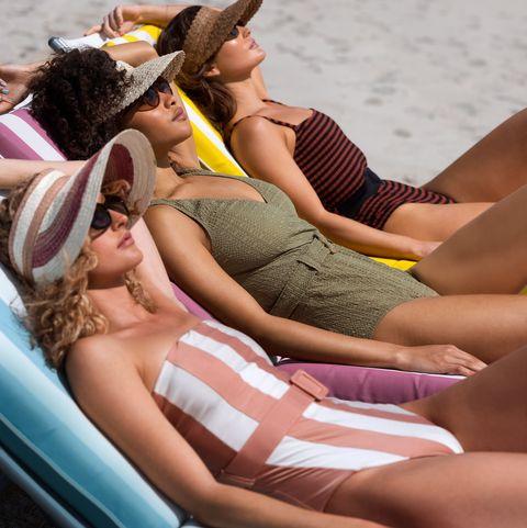 Sun tanning, Bikini, Vacation, Summer, Fun, Leg, Swimwear, Leisure, Beach, Undergarment,