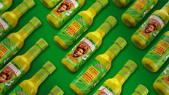 mountain dew habanero hot sauce, green bottle, iburn and joel embiid