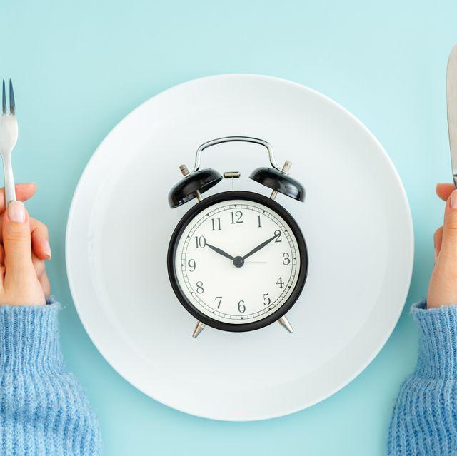 an alarm clock on an empty plate