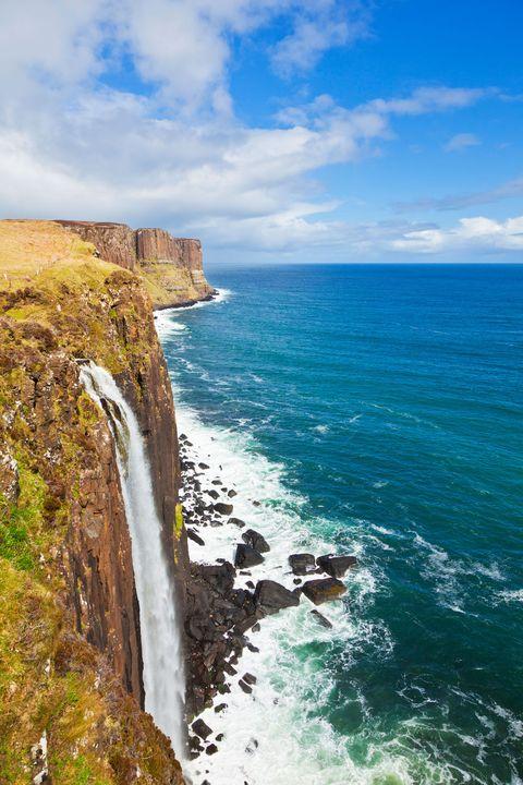 Kilt rock waterfall Isle of Skye Highlands and Islands Scotland UK GB EU Europe