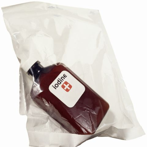 a medical bag with a bottle of iodine