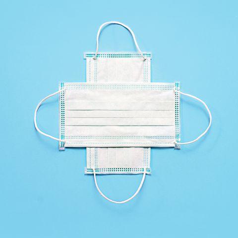 medical masks on blue color background