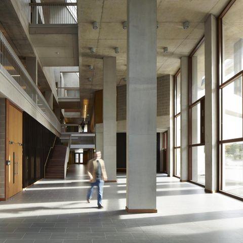 Building, Architecture, Lobby, Daylighting, Column, Interior design, Floor, Mixed-use,