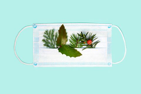 medicine face mask with splash of christmas tree branches