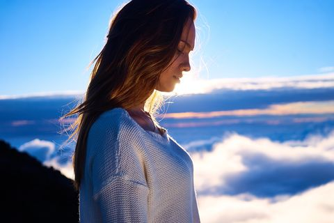 Sky, Hair, People in nature, Blue, Cloud, Beauty, Hairstyle, Shoulder, Mountain, Photography,