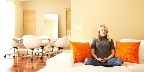 Room, Furniture, Living room, Yellow, Interior design, Property, Comfort, Orange, Wall, Sitting,