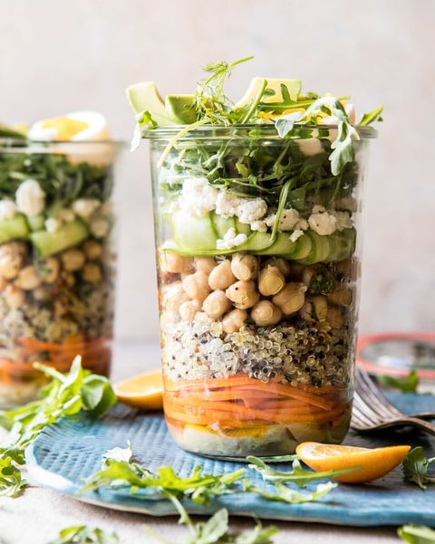 Mediterranean chickpea and egg salad mason jar