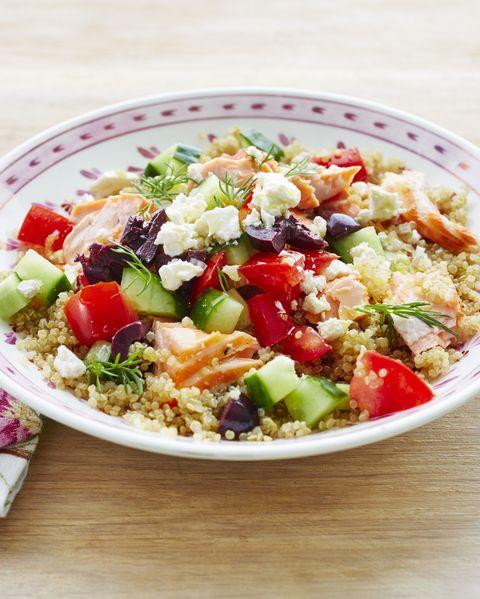 mediterranean veggie and salmon grain bowl