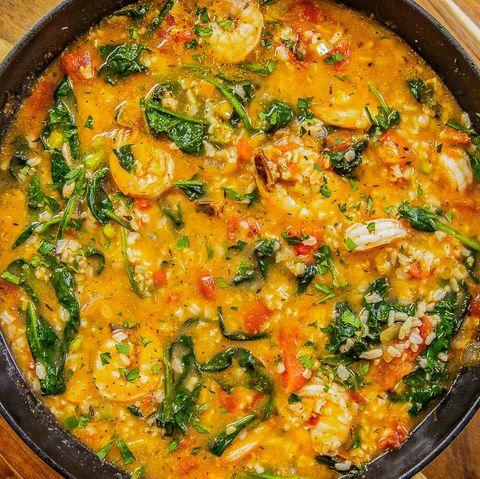 mediterranean shrimp  rice soup   delishcom