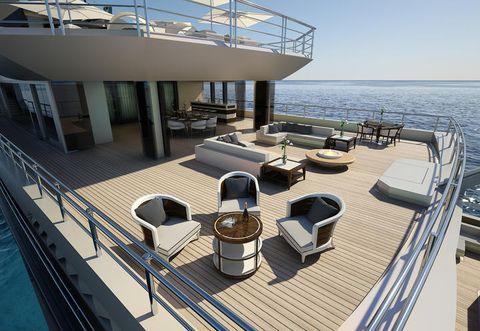 Deck, Ocean, Balcony, Watercraft, Outdoor furniture, Deck, Ship, Handrail, Naval architecture, Outdoor structure,