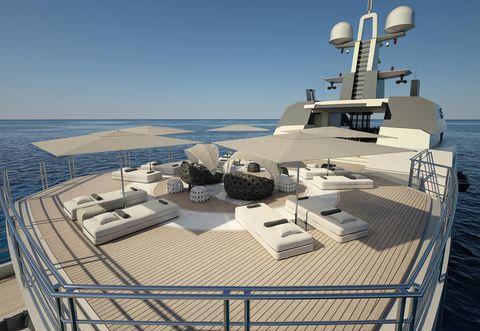 Horizon, Ocean, Sea, Naval architecture, Watercraft, Deck, Ship, Luxury yacht, Boat, Water transportation,