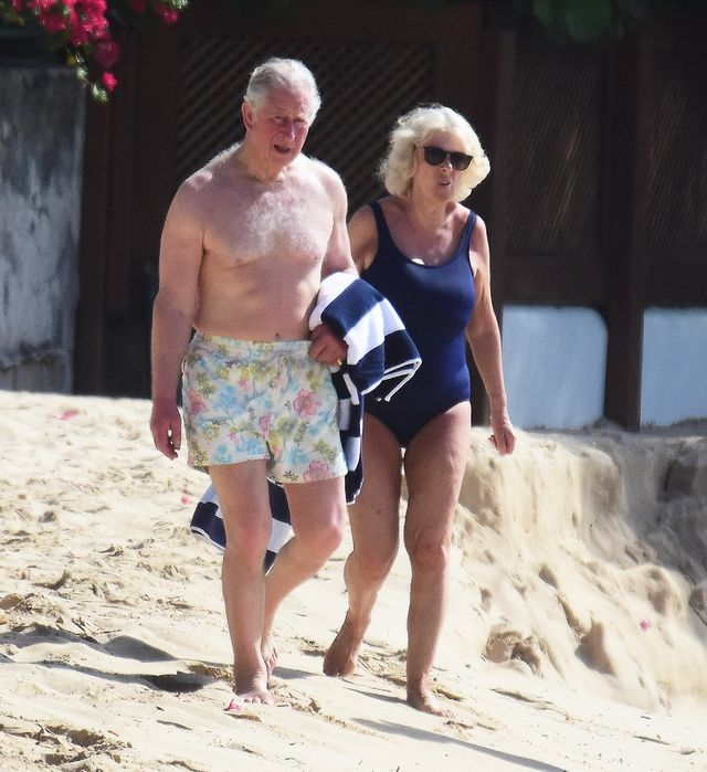 exclusive prince charles and wife camilla, duchess of cornwall,  pictured on the beach in barbados