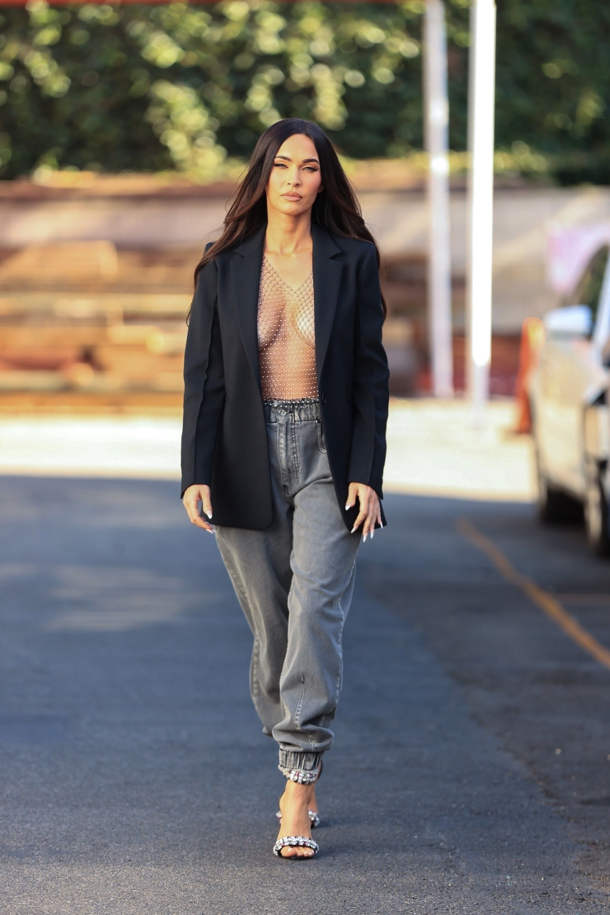 Megan Fox Went Out in an Open Blazer and a Completely See-Through Net Top