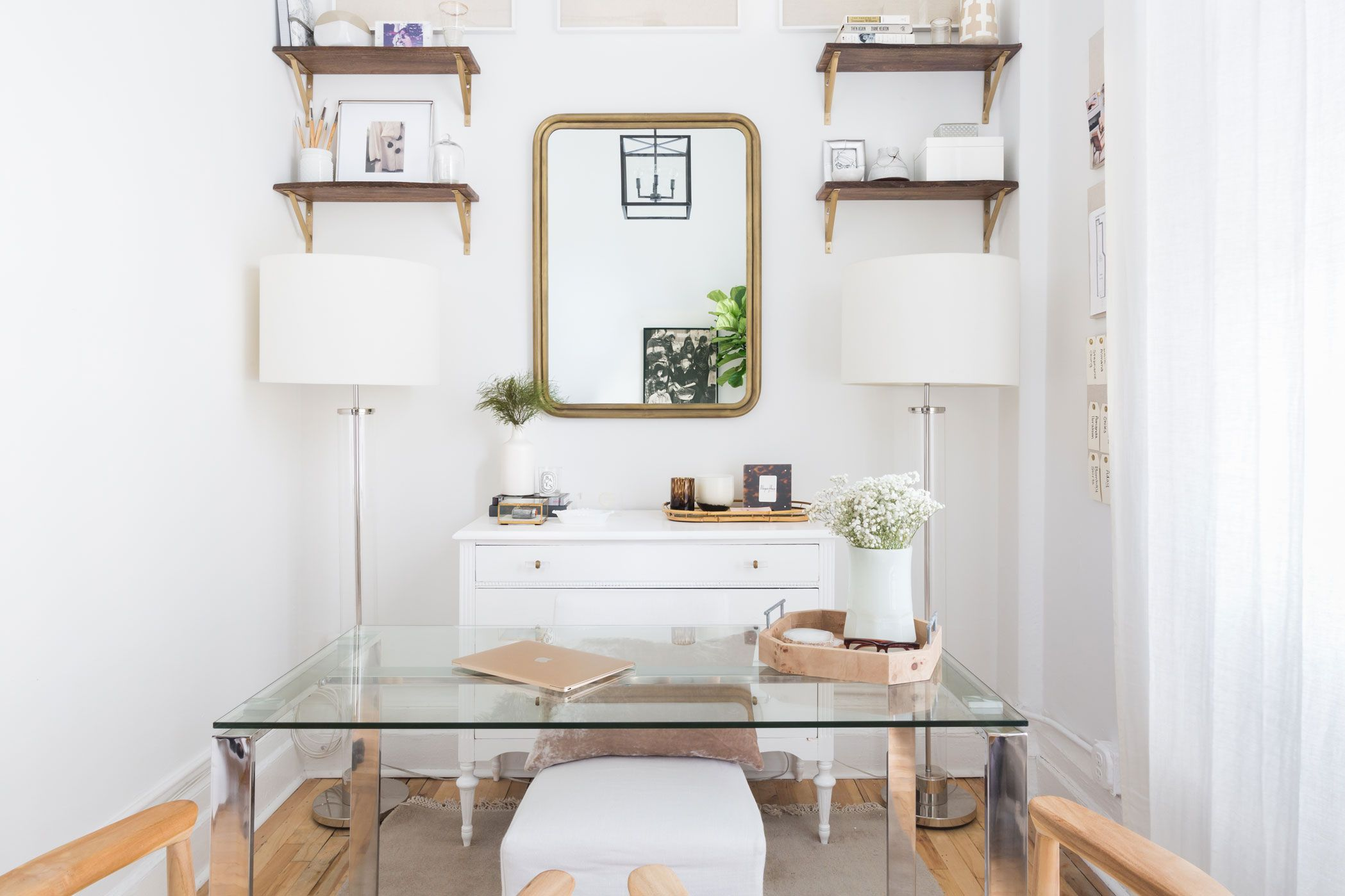 Glass Desk With Floating Shelves