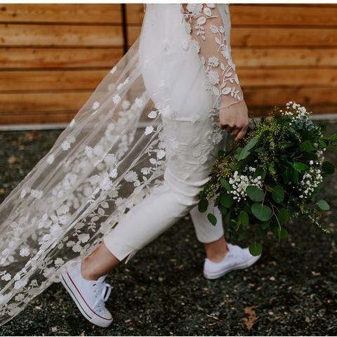 mono largo novia boda zapatillas Converse