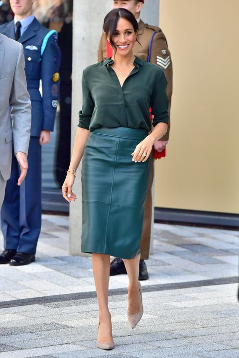 212ca6c02b The Duke & Duchess Of Sussex Visit Sussex. Samir HusseinGetty Images. Moto  Leather Pencil Skirt