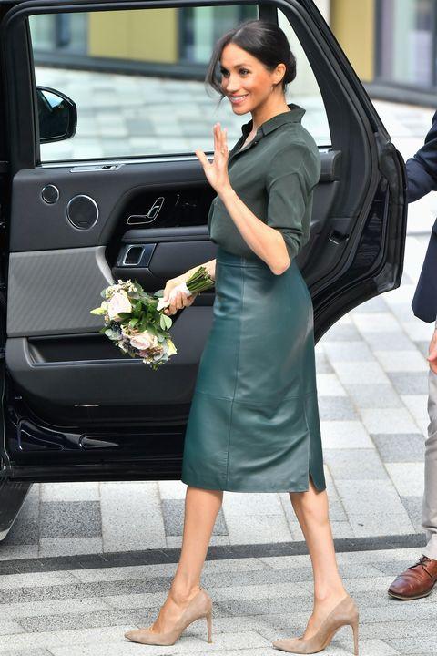 Meghan Markle S Hugo Boss Green Leather Pencil Skirt